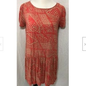 One Clothing Women's Coral/Tan Dress - Large